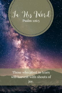 Those who plant in tears will harvest with shouts of joy.