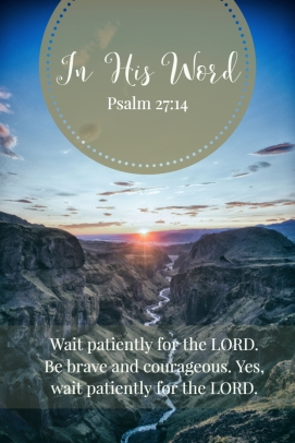 Wait patiently for the LORD. Be brave and courageous. Yes, wait patiently for the LORD.