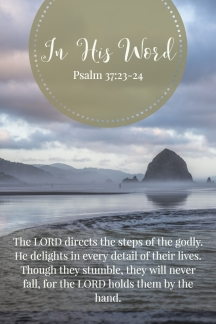 The LORD directs the steps of the godly. He delights in every detail of their lives. Though they stumble, they will never fall, for the LORD holds them by the hand.