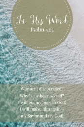 Why am I discouraged? Why is my heart so sad? I will put my hope in God! I will praise him again - my Savior and my God!
