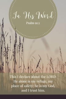 This I declare about the LORD: He alone is my refuge, my place of safety; he is my God, and I trust him.
